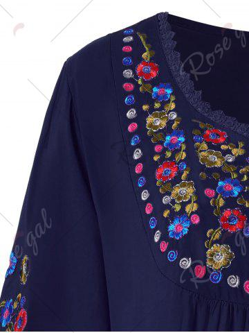 Buy Plus Size Floral Embroidered Tunic Top - 3XL PURPLISH BLUE Mobile