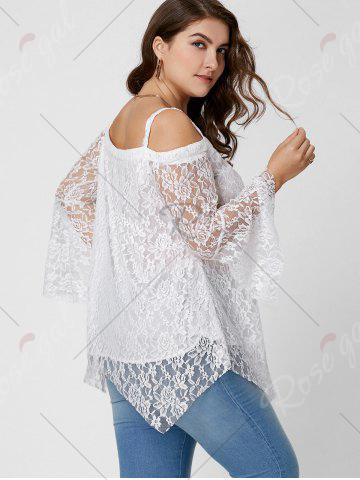 Affordable Long Sleeve Cold Shoulder Lace Plus Size Top - XL WHITE Mobile