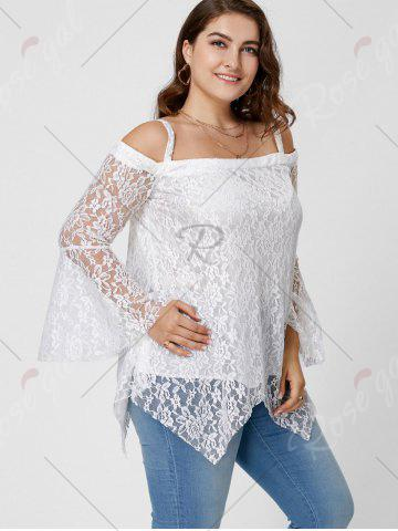 Discount Long Sleeve Cold Shoulder Lace Plus Size Top - XL WHITE Mobile