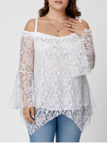 Hot Long Sleeve Cold Shoulder Lace Plus Size Top - XL WHITE Mobile
