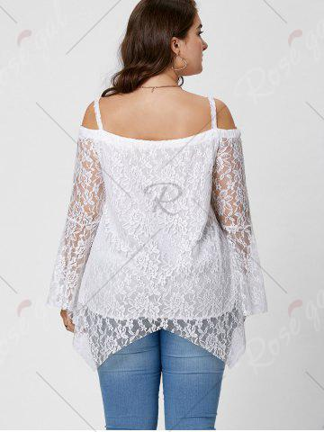New Long Sleeve Cold Shoulder Lace Plus Size Top - XL WHITE Mobile