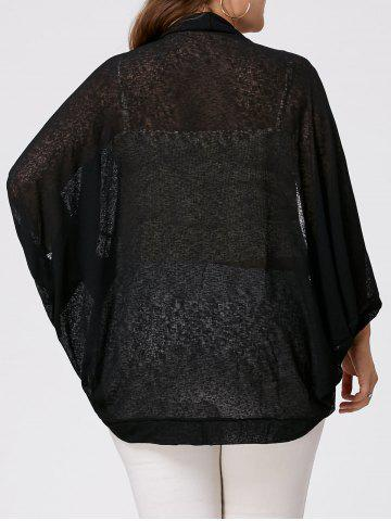New Plus Size Semi Sheer Collarless Batwing Sleeve Top - 2XL BLACK Mobile