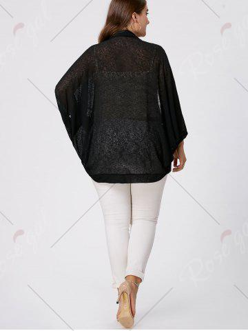 Outfit Plus Size Semi Sheer Collarless Batwing Sleeve Top - 2XL BLACK Mobile