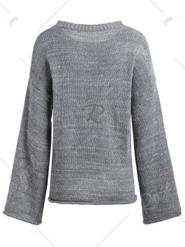 Hot Boyfriend Drop Shoulder Loose Sweater - ONE SIZE GRAY Mobile