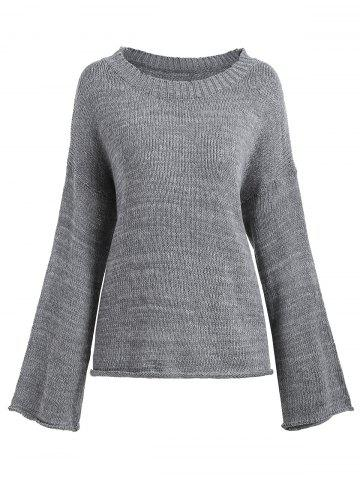 Shop Boyfriend Drop Shoulder Loose Sweater - ONE SIZE GRAY Mobile