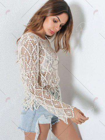 Sale Sheer Crochet Hollow Out Sweater - ONE SIZE LIGHT KHAKI Mobile