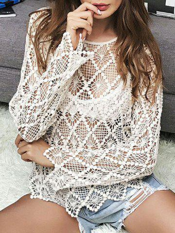 Hot Sheer Crochet Hollow Out Sweater LIGHT KHAKI ONE SIZE