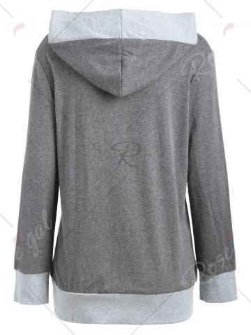 Cheap V Neck Color Block Button Embellished Hoodie - S DEEP GRAY Mobile