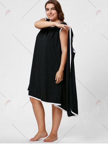 Chic Knee Length Plus Size Beach Wrap Cover Up Dress - XL BLACK Mobile