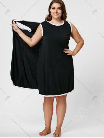 Cheap Knee Length Plus Size Beach Wrap Cover Up Dress - XL BLACK Mobile