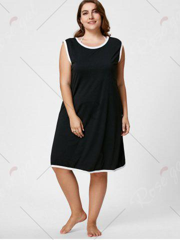 Fashion Knee Length Plus Size Beach Wrap Cover Up Dress - XL BLACK Mobile