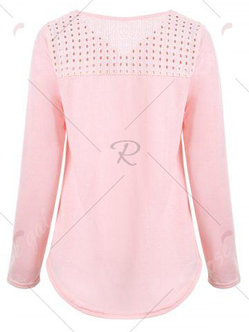 Outfits Long Sleeve V Neck Openwork T-shirt - S LIGHT PINK Mobile