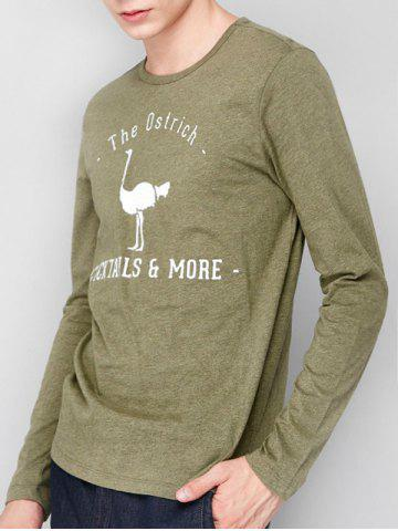 Affordable Ostrich Graphic Print Long Sleeve T-shirt GREEN 2XL