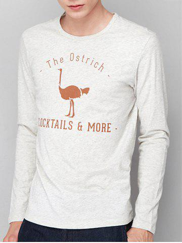 Hot Ostrich Graphic Print Long Sleeve T-shirt