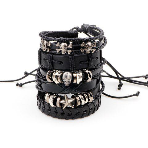 Punk Metallic Skull Star Faux Leather Bracelets - Black