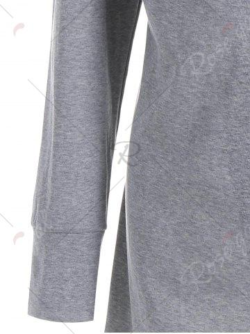 Hot Plus Size Hooded Overlap Asymmetrical Top - XL GRAY Mobile