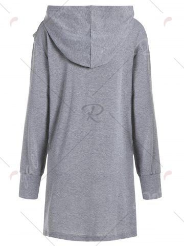 Trendy Plus Size Hooded Overlap Asymmetrical Top - XL GRAY Mobile