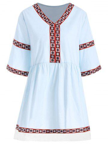 Latest V Neck Printed Plus Size Tunic Top - 3XL AZURE Mobile