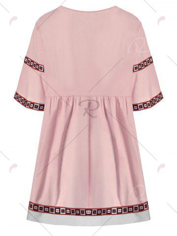 New V Neck Printed Plus Size Tunic Top - 3XL ORANGEPINK Mobile