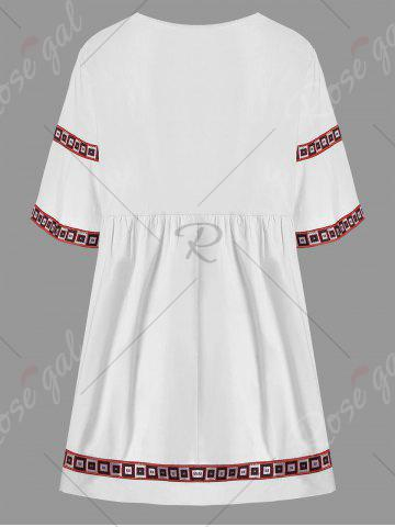 Affordable V Neck Printed Plus Size Tunic Top - 3XL WHITE Mobile
