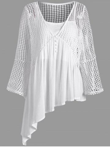 Plus Size Plunging Neck Long Sleeve Top with Camisole - White - 4xl