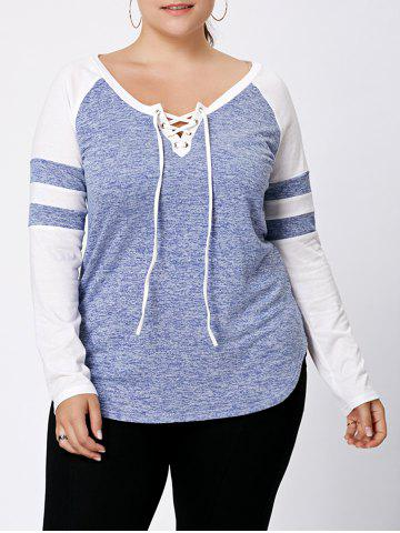 Discount Long Sleeve Plus Size Lattice Baseball Top - XL LIGHT BLUE Mobile