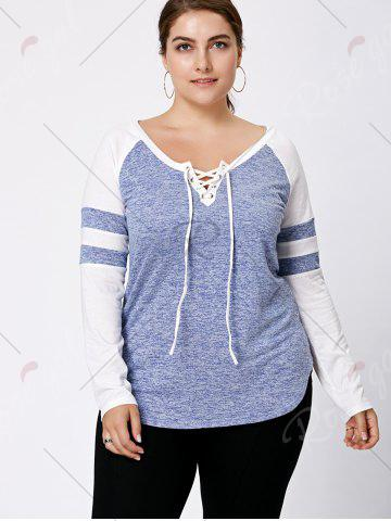 Affordable Long Sleeve Plus Size Lattice Baseball Top - XL LIGHT BLUE Mobile