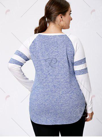 Shops Long Sleeve Plus Size Lattice Baseball Top - XL LIGHT BLUE Mobile