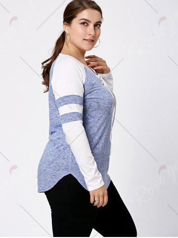 Best Long Sleeve Plus Size Lattice Baseball Top - XL LIGHT BLUE Mobile