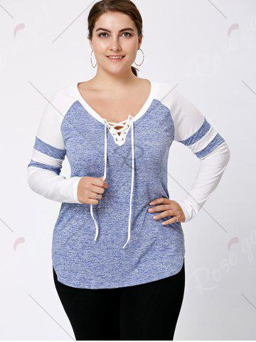 New Long Sleeve Plus Size Lattice Baseball Top - XL LIGHT BLUE Mobile