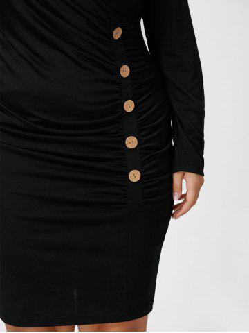 Outfit Plus Size Button Detail Ruched Tight Dress - XL BLACK Mobile