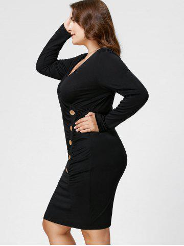 New Plus Size Button Detail Ruched Tight Dress - XL BLACK Mobile