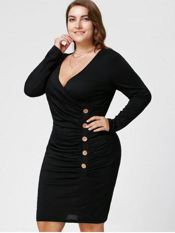 Outfits Plus Size Button Detail Ruched Tight Dress - XL BLACK Mobile