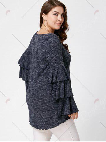 Chic Plus Size Layered Flare Sleeve Top - XL BLACK GREY Mobile