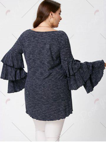 Store Plus Size Layered Flare Sleeve Top - XL BLACK GREY Mobile