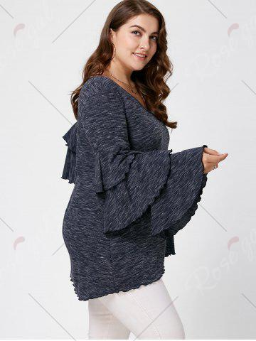 Outfit Plus Size Layered Flare Sleeve Top - XL BLACK GREY Mobile