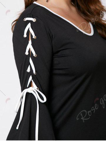 Latest Plus Size Lace Up Bell Sleeve Top - 3XL BLACK Mobile