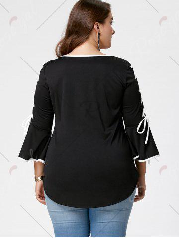 Outfit Plus Size Lace Up Bell Sleeve Top - 3XL BLACK Mobile