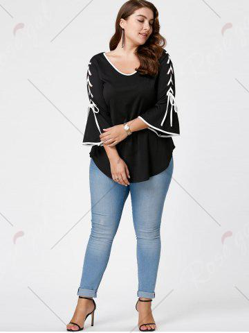 Chic Plus Size Lace Up Bell Sleeve Top - 3XL BLACK Mobile