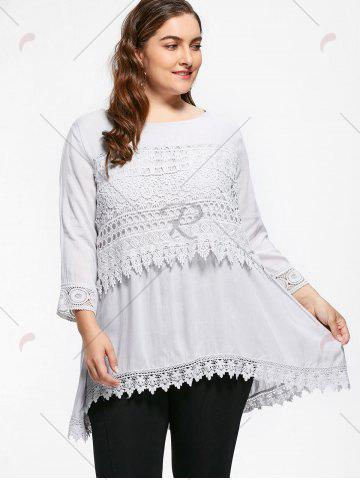 Online Casual Crochet Insert Plus Size Tuinc Top - XL LIGHT GRAY Mobile