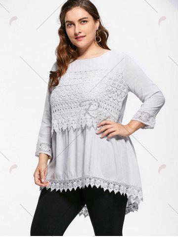 Discount Casual Crochet Insert Plus Size Tuinc Top - XL LIGHT GRAY Mobile