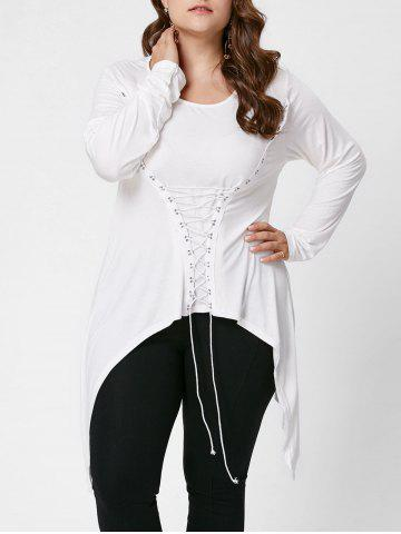 Discount Lace-Up Bodice Layered Plus Size Top - XL CRYSTAL CREAM Mobile