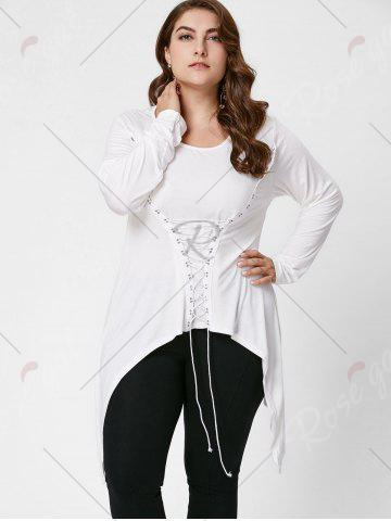 Affordable Lace-Up Bodice Layered Plus Size Top - XL CRYSTAL CREAM Mobile