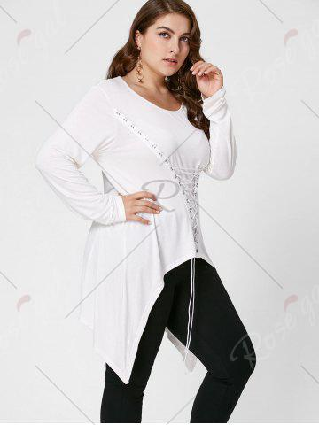 Store Lace-Up Bodice Layered Plus Size Top - XL CRYSTAL CREAM Mobile