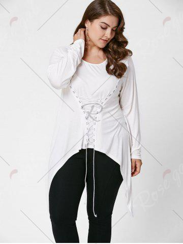 New Lace-Up Bodice Layered Plus Size Top - XL CRYSTAL CREAM Mobile