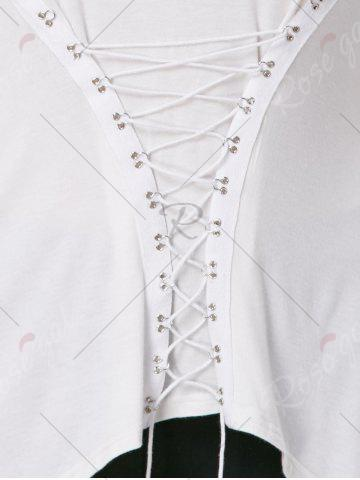 Sale Lace-Up Bodice Layered Plus Size Top - XL CRYSTAL CREAM Mobile