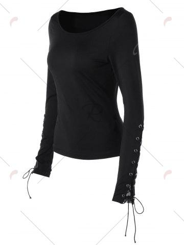 Outfit Lace Up Slim Top - M BLACK Mobile