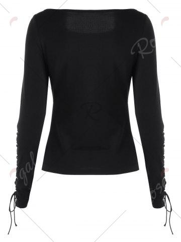 Discount Lace Up Slim Top - M BLACK Mobile