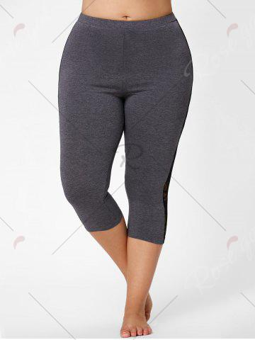 Sale Mesh Panel Lace Plus Size Cropped Leggings - 3XL GRAY Mobile