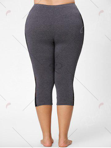 New Mesh Panel Lace Plus Size Cropped Leggings - 3XL GRAY Mobile